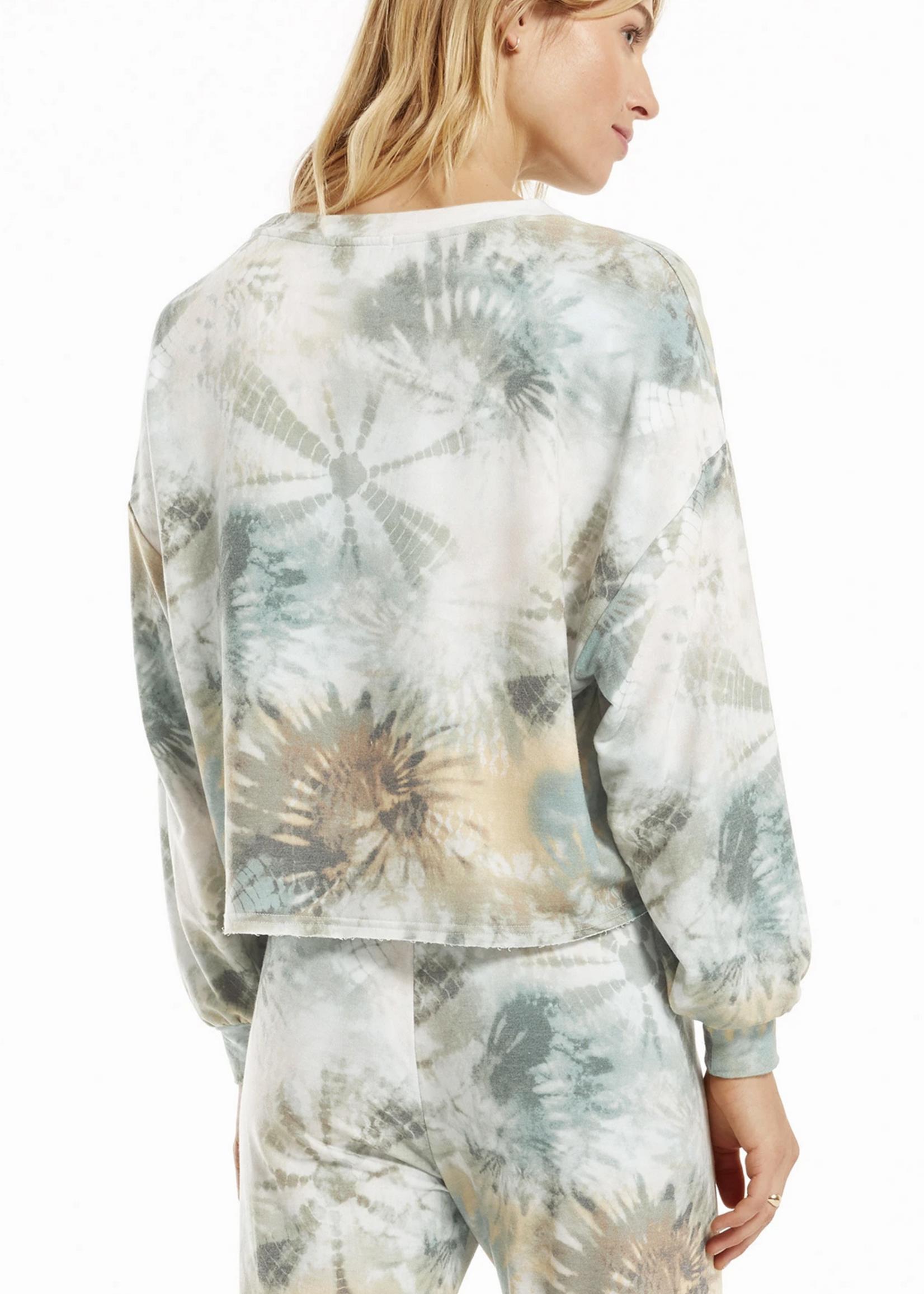 z supply z supply aqua tie dye sweatshirt