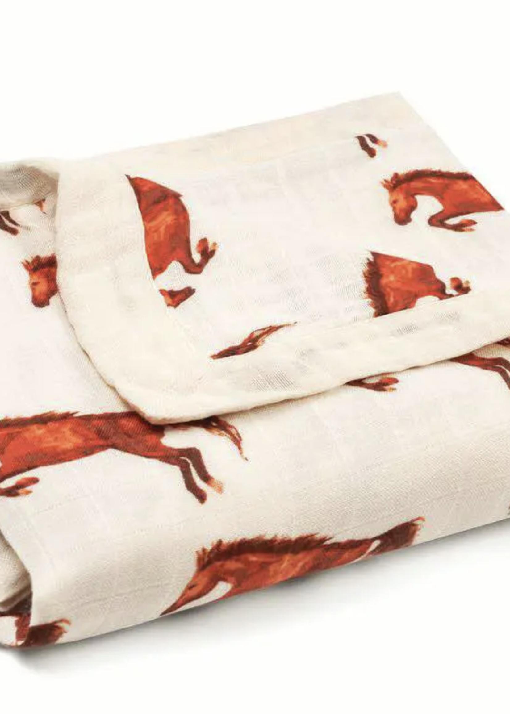 milkbarn milkbarn natural horse big lovey  muslin blanket