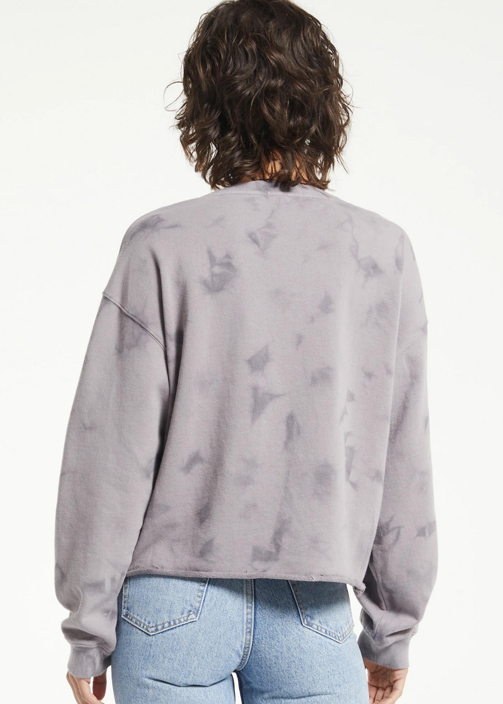 z supply z supply mae cloud wash raw edge sweater