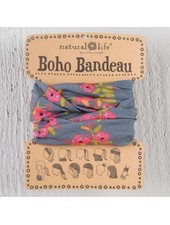natural life boho bandeau charcoal blooms