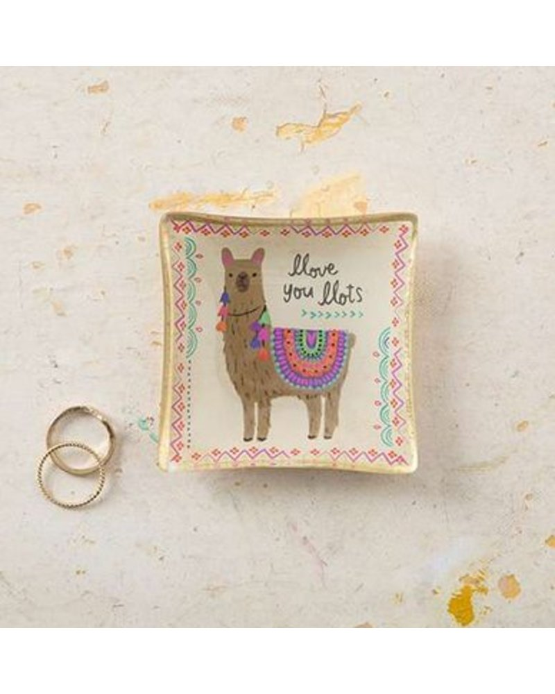 natural life natural life llama mini glass tray