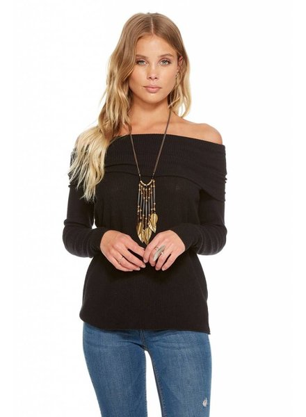 love rib off shoulder pullover