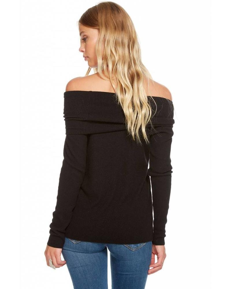 chaser chaser love rib off shoulder pullover