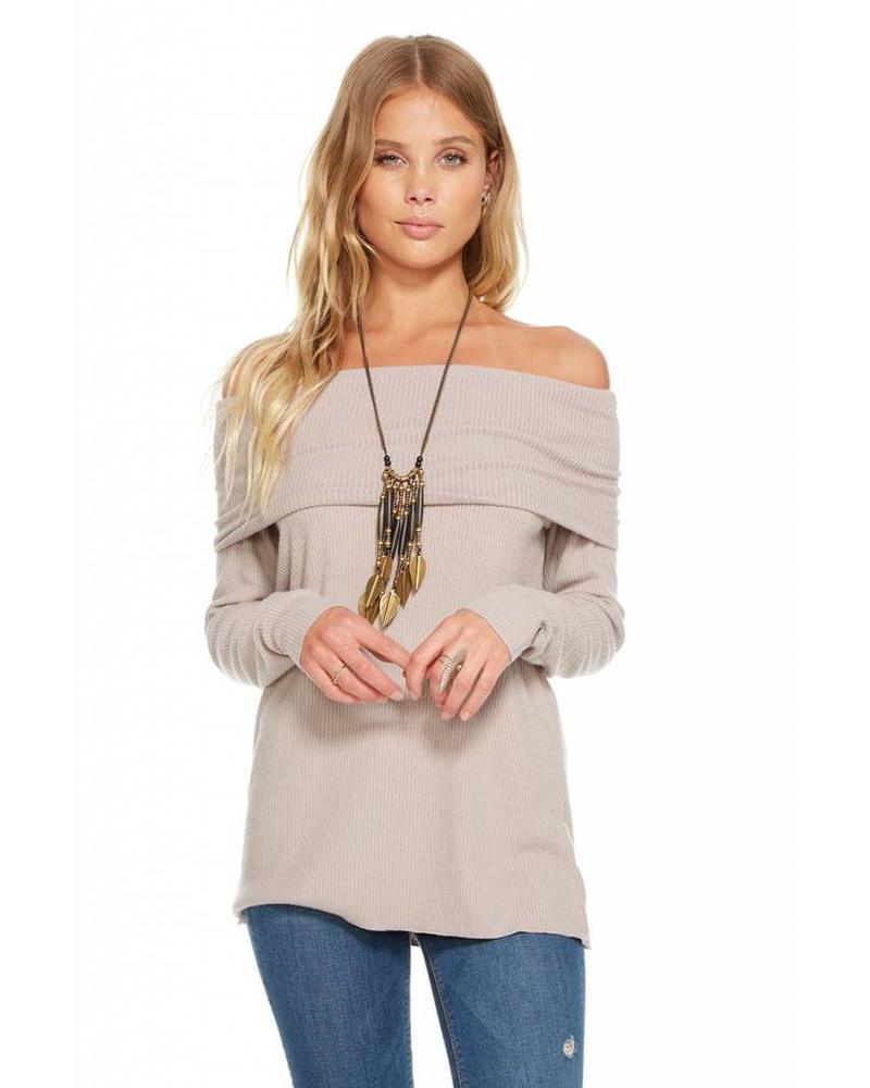 chaser love rib off shoulder pullover