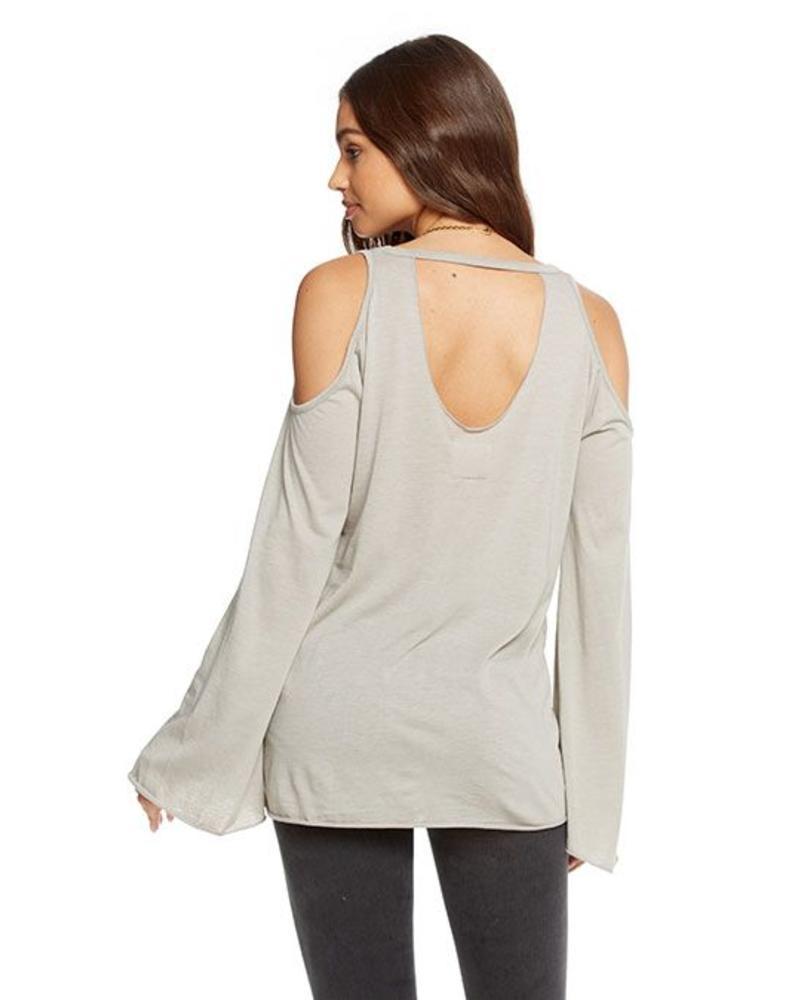 chaser cold shoulder vented neck top