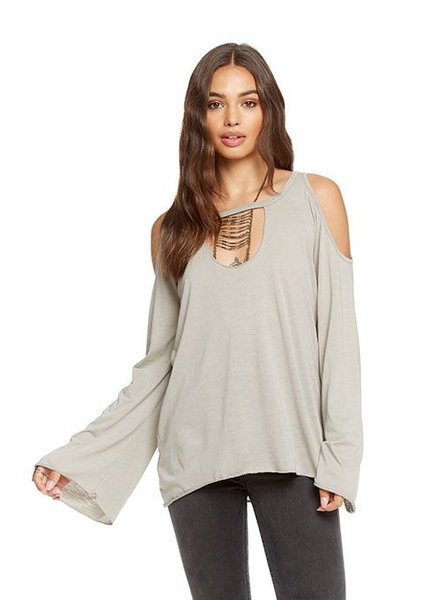cold shoulder vented neck top