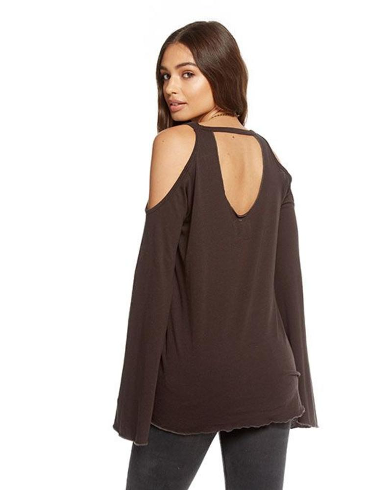 chaser chaser cold shoulder vented neck top