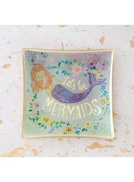 natural life lets be mermaids glass tray