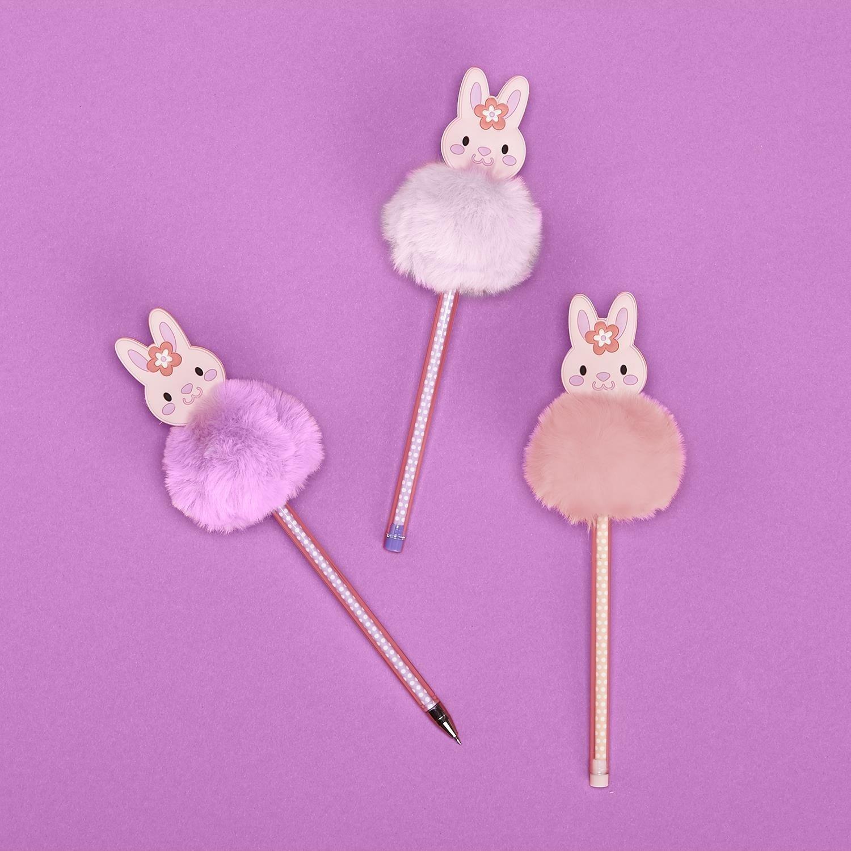 Two's Company Bunny Pom Pom Pen