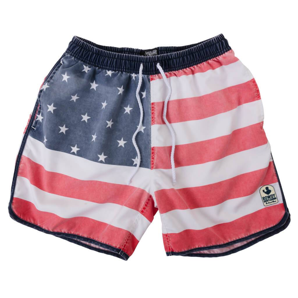 5c474cf0c9 Rowdy Gentleman Rowdy Gentleman Faded American Flag Swim Trunks - Beau Lee  Men's Apparel
