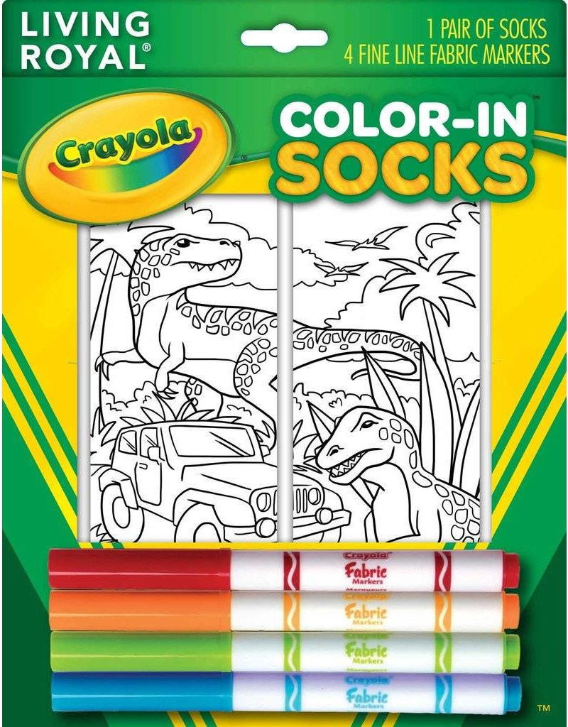 Living Royal Living Royal - Dinosaur Safari - Color-in Socks - 102CIS - Crew