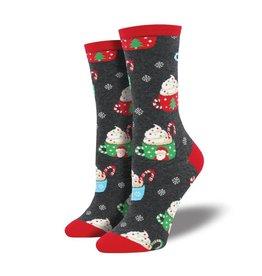 Socksmith Socksmith - Cocoa Christmas - Charcoal Heather - WNC911 - Crew - Women's