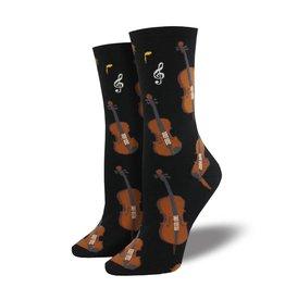 Socksmith Socksmith - Strings - Black - WNC1604 - Crew - Women's