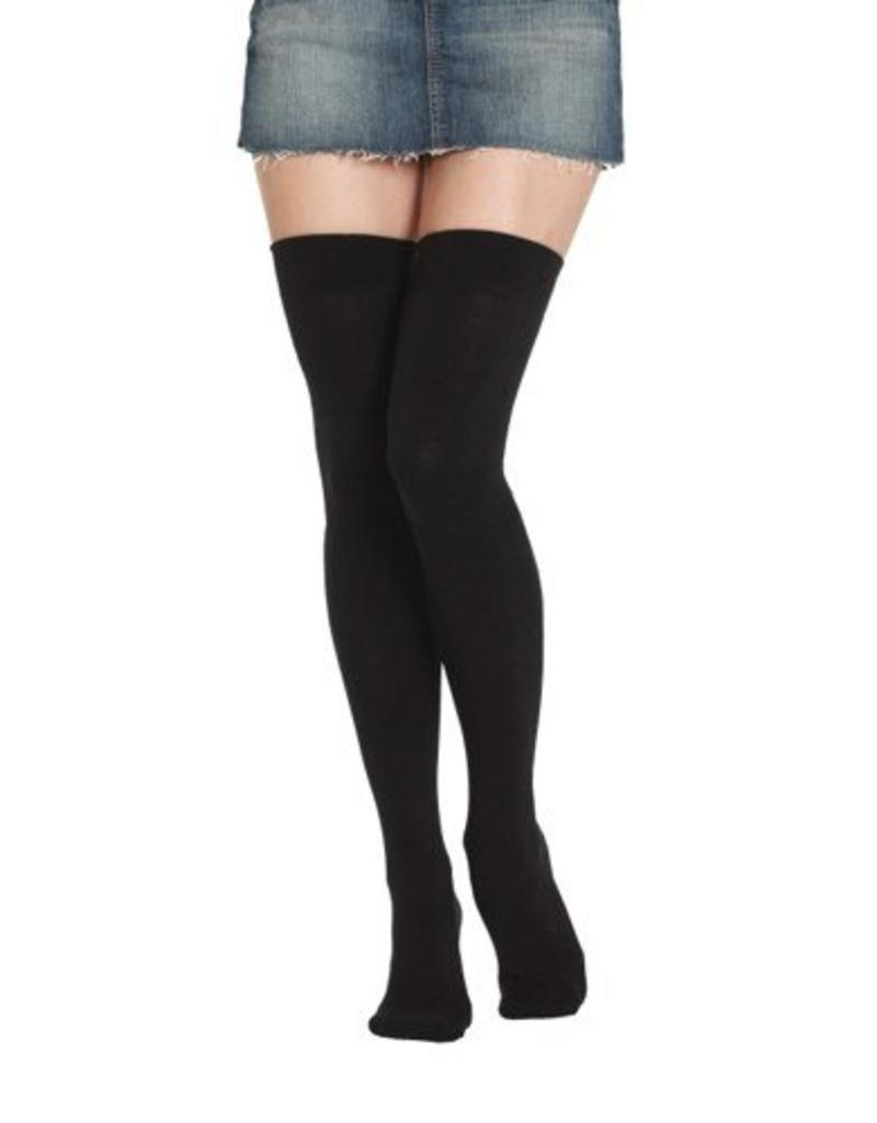 Foot Traffic Foot Traffic - Signature Combed Cotton Thigh High - 900TH - Black - Women's
