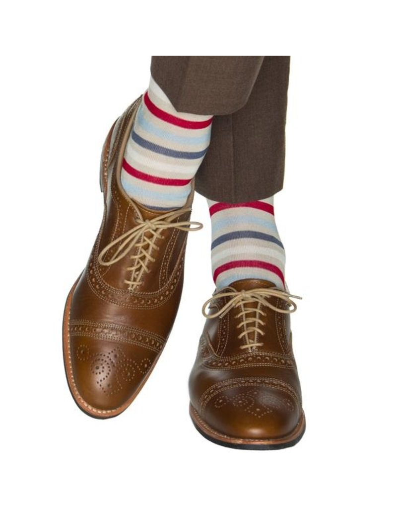Dapper Classics Dapper Classics - Tan/Cream/Red/Sky Blue/Indigo Blue Quad Stripe - Cotton - OTC