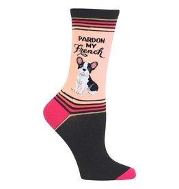 Hot Sox Hot Sox - Pardon My French - Black - HO002798 - Crew - Women's