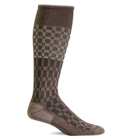 Sockwell Sockwell - Moderate Lifestyle Compression - Checkmate - SW37M - Bark - Men's