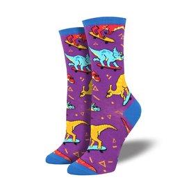 Socksmith Socksmith - Skate Or Dinosaur - Purple- WNC1758 - Crew - Women's