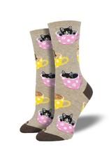 Socksmith Socksmith - Cat-Feinated - Hemp Heather - WNC1771- Crew - Women's