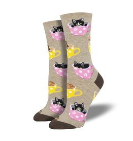 Socksmith Socksmith - Cat-Feinated - Hemp Heather - WNC1771- Crew - Women's