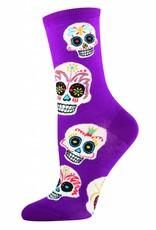 Socksmith Socksmith - Big Muertos Skull - Royal Purple - SSW1067 - Crew - Women's