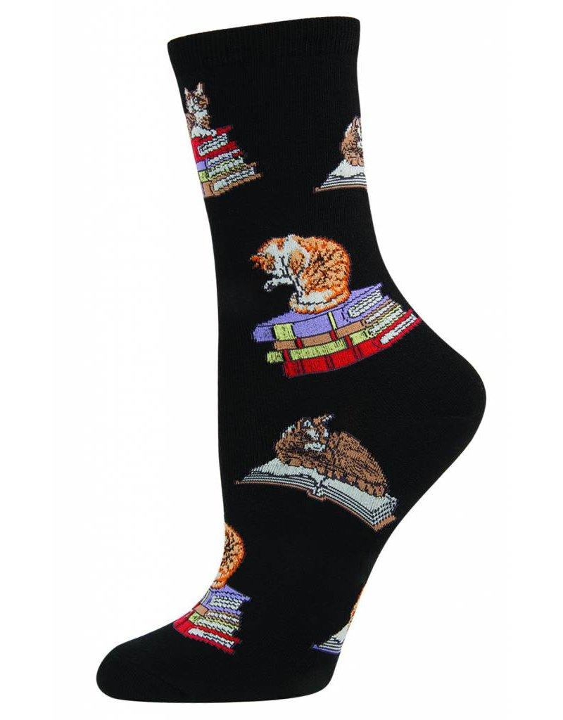 Socksmith Socksmith - Cats On Books - Black - WNC346 - Crew - Women's