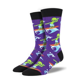 Socksmith Socksmith - Surfing The Galaxy - Purple - MNC1860 - Crew - Men's