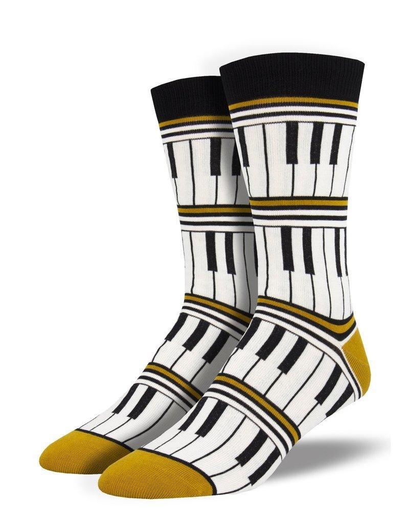 Socksmith Socksmith - Bamboo Piano Stripe - Gold - MBN1919 - Crew - Men's