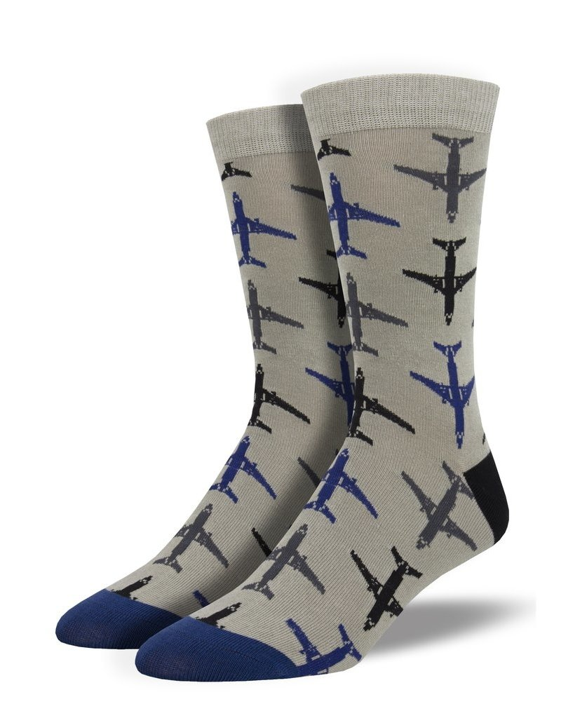 Socksmith Socksmith - Bamboo Airplanes - Gray - MBN1927 - Crew - Men's