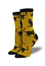 Socksmith Socksmith - Bamboo Black Cat - Gold - WBN1913 - Crew - Women's