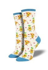 Socksmith Socksmith - Pizza Loves Pineapples - Ivory Heather - WNC1891 - Crew - Women's
