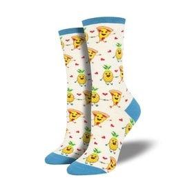 Socksmith Socksmith - Pizza Loves Pineapples - Ivory Heather - WNC1891 - Crew - Women's
