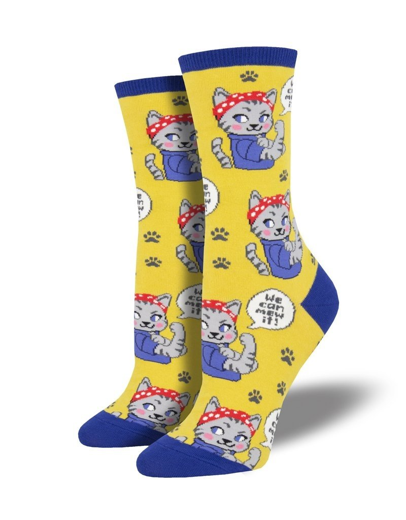 Socksmith Socksmith - We Can Mew It - Yellow - WNC1902 - Crew - Women's