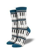 Socksmith Socksmith - Bamboo Piano Stripe - Blue - WBN1915 - Crew - Women's