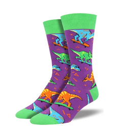 Socksmith Socksmith - Skate Or Dinosaur - Purple - MNC1695 - Crew - Men's