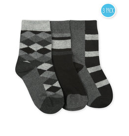 Jefferies - Argyle Stripe Crew - 3-Pk - 1167 - Black - Boys