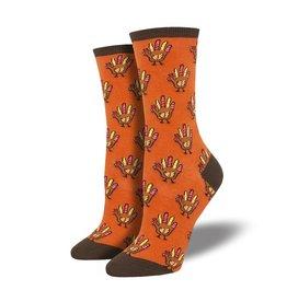 Socksmith Socksmith - Handprint Turkey - Orange - WNC1880 - Crew - Women's