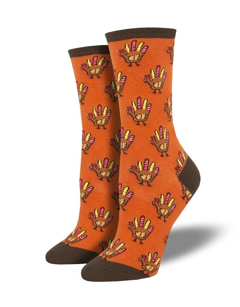 Socksmith Socksmith - Handprint Turkey - Orange - WNC1880 - Crew - Women's
