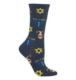 Hot Sox Hot Sox - Hanukkah - Denim Heather - HOH00010 - Crew - Women's