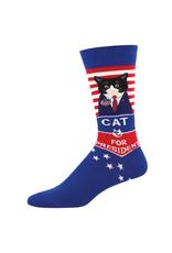 Socksmith Socksmith - Cat For President - Blue - MNC2040 - Crew -  Men's