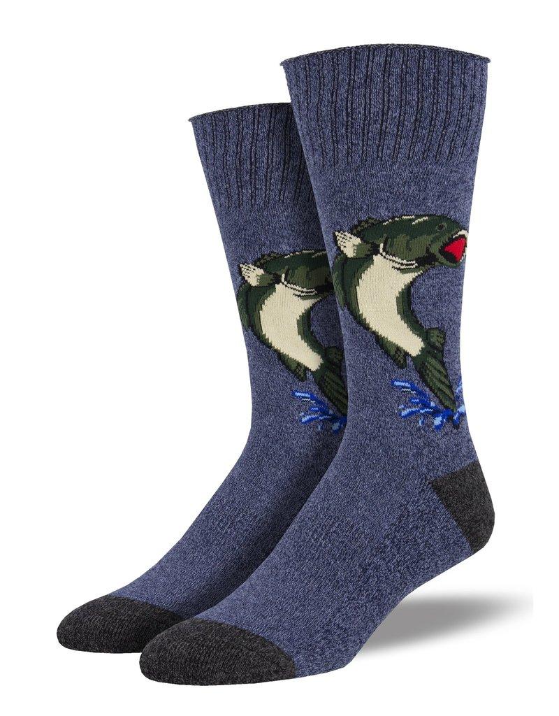 Socksmith Socksmith - Big Mouth Bass - Blue - RBC1972 - Boot Sock - Men's