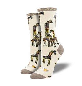 Socksmith Socksmith - Giraffe Family - Ivory Heather - WNC2088 - Crew - Women's