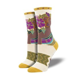 Socksmith Socksmith - Blossoming Woman - Ivory Heather - WNC2087 - Crew - Women's