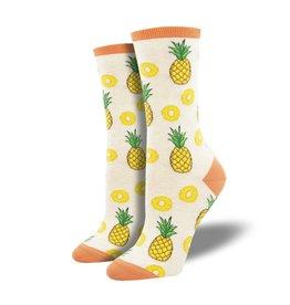 Socksmith Socksmith - Partial to Pineapples - Ivory Heather - WNC2016 - Crew - Women's
