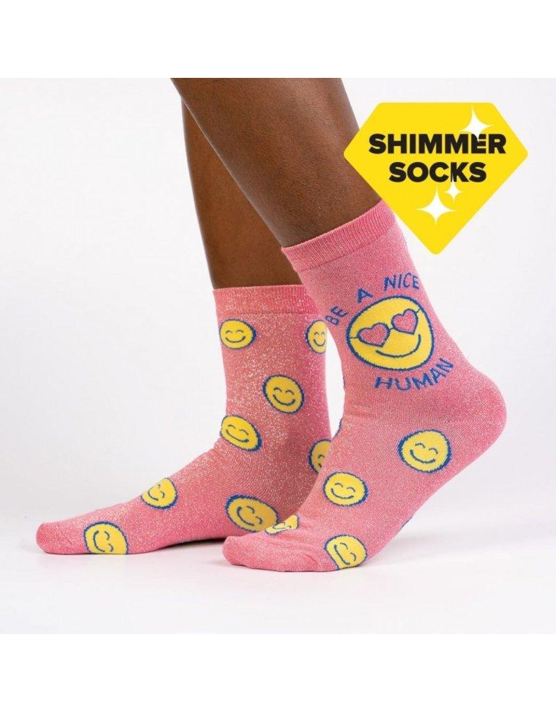 Sock It to Me Sock It to Me - Be A Nice Human - W0256 - Crew  - Women's