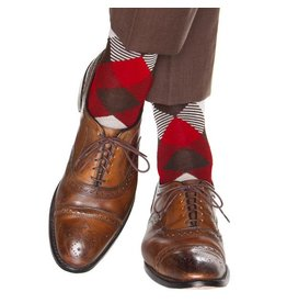 Dapper Classics Dapper Classics - Coffee Brown/Tan/Red/Cream Striped Argyle - Cotton - OTC