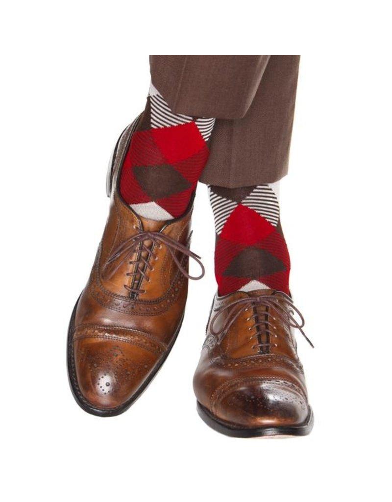 Dapper Classics Dapper Classics - Coffee Brown/Tan/Red/Cream Striped Argyle - Cotton - OTC