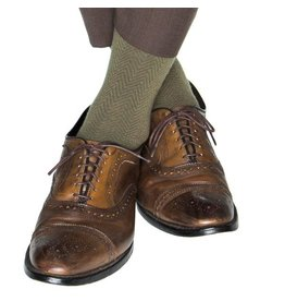 Dapper Classics Dapper Classics - Pine Green with Brown Chevron - Merino Wool - OTC