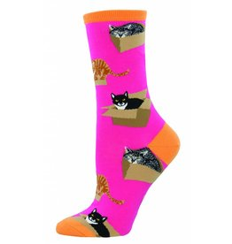 Socksmith Socksmith - Cat In A Box - Pink - WNC765 - Crew - Women's
