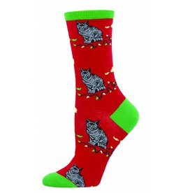 Socksmith Socksmith - Christmas Cat-Astrophe - Red - WNC722 - Crew - Women's